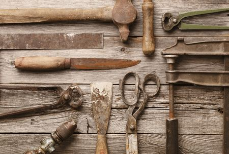 A collection of old rusty tools