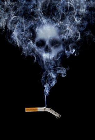 bad habits: Cigarette with deadly smoke