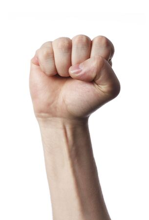 bodypart: Fist of a man against white background.