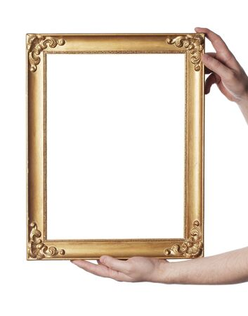 rectangle frame: Man holding an old picture frame