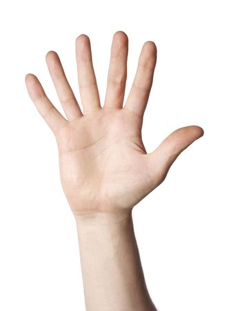 mutations: Hand with 6 fingers on white background