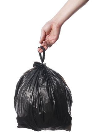 Man holding black plastic trash bag in his hand Stock Photo - 6914146