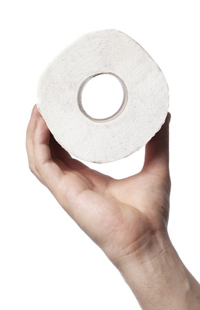 Man holding a roll of white toilet paper in his hand Stock Photo - 7077151