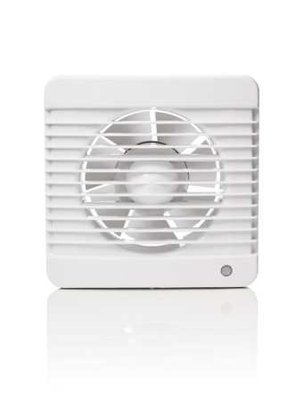 axial: A white bathroom exhaust ventilation fan on reflective background