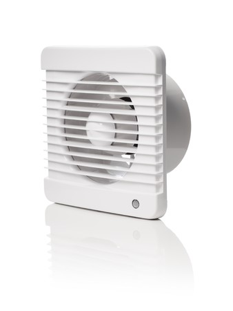reflects: A white bathroom exhaust ventilation fan on reflective background