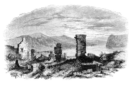 Ruins of Ticonderoga at lake Champlain. Illustration originally published in Hesse-Wartegg's