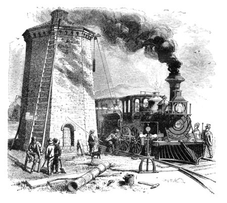virtue: Steam Locomotive is being filled with water. Illustration originally published in Hesse-Warteggs Nord Amerika, swedish edition published in 1880. The image is currently in Public domain by virtue of age.