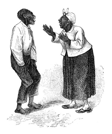 public domain: Stereotypical African Americans. Illustration originally published in Hesse-Warteggs Nord Amerika, swedish edition published in 1880. The image is currently in Public domain by virtue of age. Stock Photo