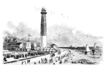 Barnegat Lighthouse in Atlantic City, New Jersey. Illustration originally published in Hesse-Warteggs Nord Amerika, swedish edition published in 1880. The image is currently in Public domain by virtue of age. illustration