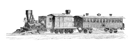virtue: Old time american train. Illustration originally published in Hesse-Warteggs Nord Amerika, swedish edition published in 1880. The image is currently in Public domain by virtue of age. Stock Photo