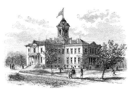 Old Minnesota Capitol, destroyed in a fire 1881. Illustration originally published in Hesse-Wartegg's
