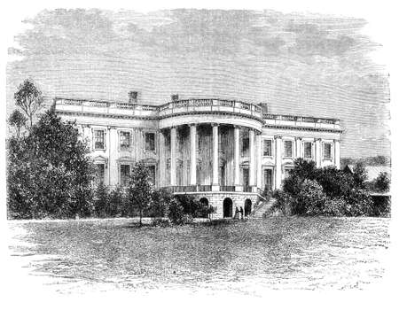 presidency: White house in Washington. Illustration originally published in Ernst von Hesse-Warteggs Nord Amerika, swedish edition published in 1880. The image is currently in Public domain by virtue of age.