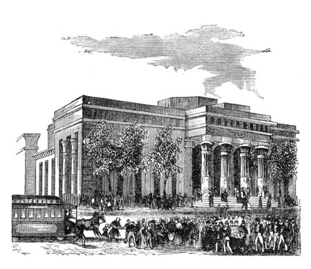 virtue: The first Tombs building in New York. Illustration originally published in Hesse-Warteggs Nord Amerika, swedish edition published in 1880. The image is currently in Public domain by virtue of age.