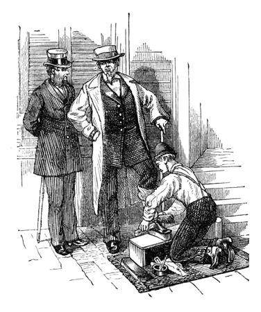Gentlemen having their shoes polished in New York. Illustration originally published in Ernst von Hesse-Wartegg's