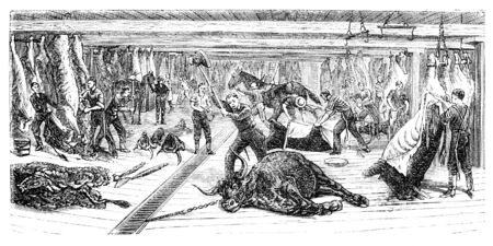 A Slaughterhouse in Chicago. Illustration originally published in Ernst von Hesse-Warteggs Nord Amerika, swedish edition published in 1880. The image is currently in Public domain by virtue of age. illustration