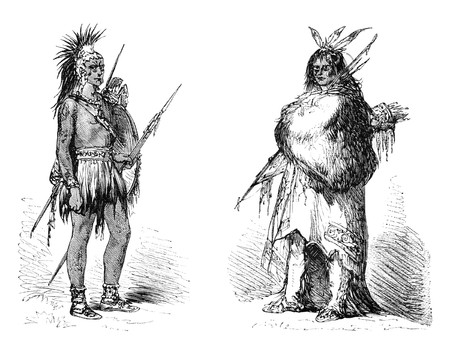 Wichita native american warrior in both summer and winter clothing. Illustration originally published in Ernst von Hesse-Wartegg's