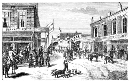 virtue: A Street in Wichita, Kansas. Illustration originally published in Hesse-Warteggs Nord Amerika, swedish edition published in 1880. The image is currently in Public domain by virtue of age. Stock Photo