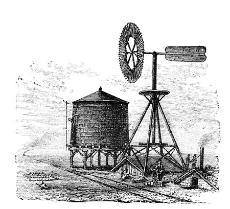 virtue: Water tank and windmill on prairie. Illustration originally published in Ernst von Hesse-Warteggs Nord Amerika, swedish edition published in 1880. The image is currently in Public domain by virtue of age.