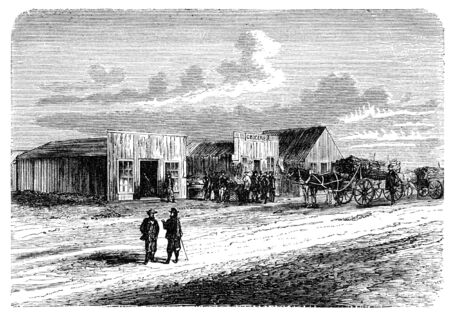 public domain: A View from Doge City, Kansas, USA. Illustration originally published in Hesse-Warteggs Nord Amerika, swedish edition published in 1880. The image is currently in Public domain by virtue of age.