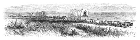virtue: Wagopns traveling on prairie. Illustration originally published in Ernst von Hesse-Warteggs Nord Amerika, swedish edition published in 1880. The image is currently in Public domain by virtue of age.