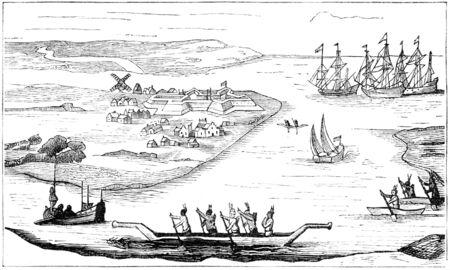 In the beginning, New York was called Nieuw Amstedam by the dutch. Illustration originally published in Ernst von Hesse-Wartegg's