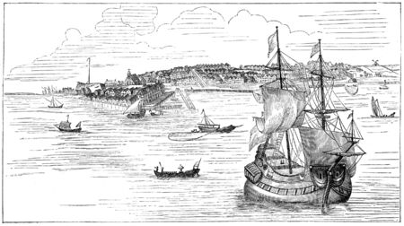 originally: New York in 1673. Illustration originally published in Ernst von Hesse-Warteggs Nord Amerika, swedish edition published in 1880. The image is currently in Public domain by virtue of age.