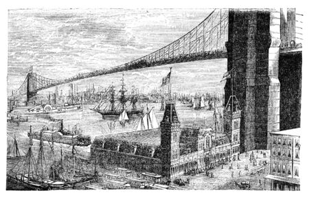 virtue: Brooklyn bridge in New York. Illustration originally published in Hesse-Warteggs Nord Amerika, swedish edition published in 1880. The image is currently in Public domain by virtue of age.