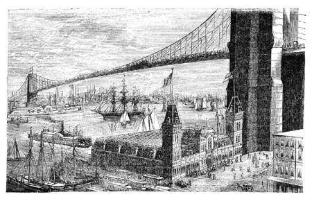 Brooklyn bridge in New York. Illustration originally published in Hesse-Wartegg's
