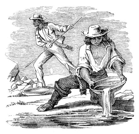 miners: Placer mining for minerals. Illustration originally published in Ernst von Hesse-Warteggs Nord Amerika, swedish edition published in 1880. The image is currently in Public domain by virtue of age.