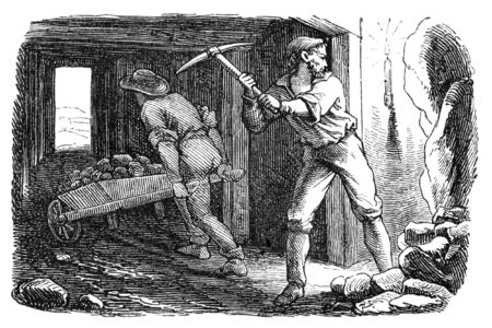 Men working in a silver mine. Illustration originally published in Ernst von Hesse-Warteggs Nord Amerika, swedish edition published in 1880. The image is currently in Public domain by virtue of age. illustration