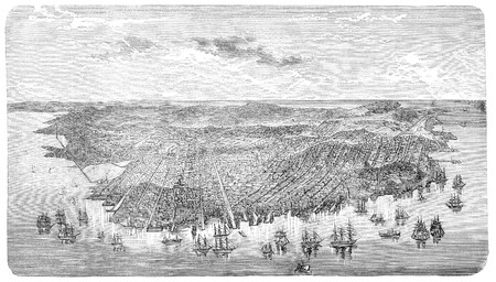 Old Aerial view of San Francisco, California. Illustration originally published in Hesse-Warteggs Nord Amerika, swedish edition published in 1880. The image is currently in Public domain by virtue of age. illustration