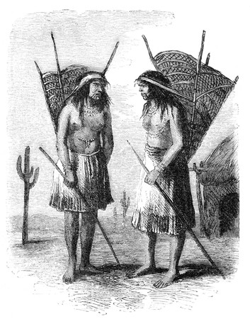 tribe: Native americans from Pimo or Pima tribe. Illustration originally published in Hesse-Warteggs Nord Amerika, swedish edition published in 1880. The image is currently in Public domain by virtue of age. Stock Photo