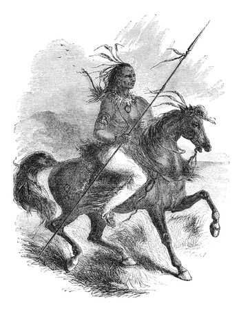 Comanche native american warrior on a horse. Illustration originally published in Ernst von Hesse-Warteggs Nord Amerika, swedish edition published in 1880. The image is currently in Public domain by virtue of age. illustration