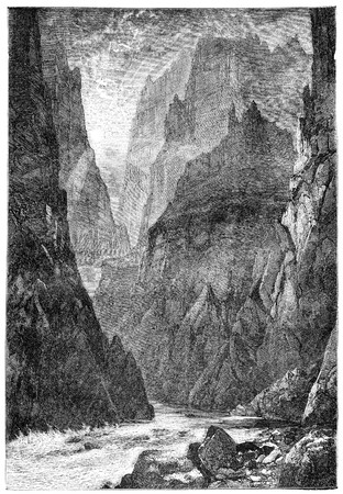 grand rapids: Grand Canyon, Colorado. Illustration originally published in Hesse-Warteggs Nord Amerika, swedish edition published in 1880. The image is currently in Public domain by virtue of age.