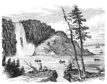 virtue: Montgomery Falls, Quebec, Canada. Illustration originally published in Hesse-Warteggs Nord Amerika, swedish edition published in 1880. The image is currently in Public domain by virtue of age.