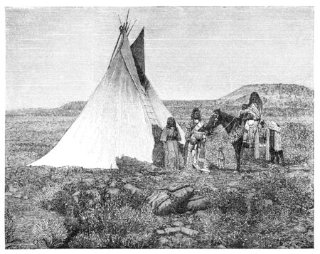 teepee: Native americans from Utah region. Illustration originally published in Hesse-Warteggs Nord Amerika, swedish edition published in 1880. The image is currently in Public domain by virtue of age. Stock Photo