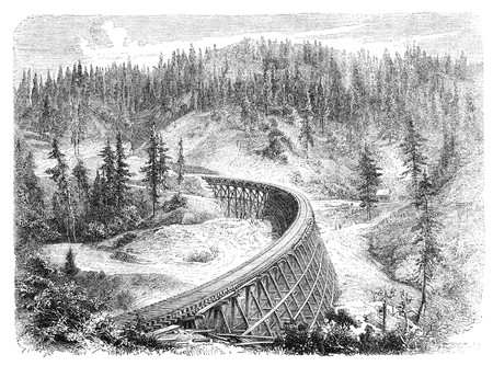 virtue: Secret Town Trestle, California. Illustration originally published in Hesse-Warteggs Nord Amerika, swedish edition published in 1880. The image is currently in Public domain by virtue of age.
