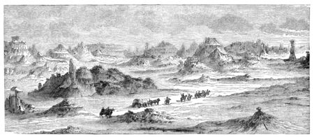 Scenery in southern parts of Utah, USA. Illustration originally published in Hesse-Wartegg's