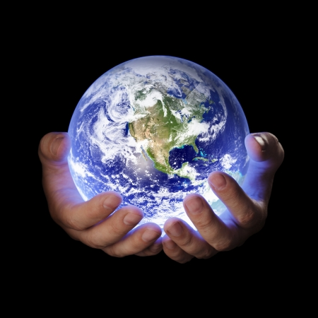 hand: Man holding a glowing earth globe in his hands. Earth image provided by Nasa.