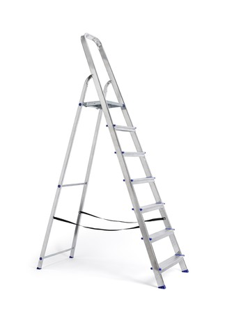 step ladder: A new metallic step ladder isolated on white with natural shadows.