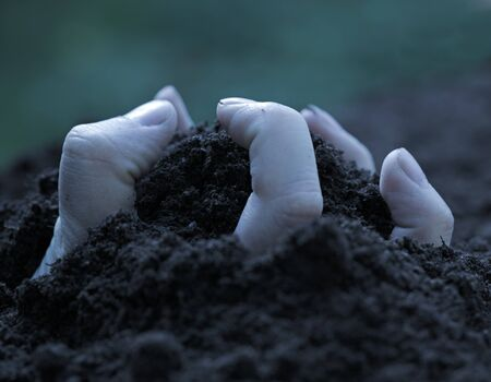 emerging: Hand emerging from the ground trough the soil