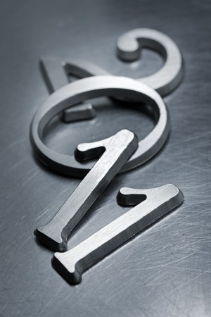 numbering: Metallic letters that can be used for number 2011 on scratched metallic background. Short depth of field.