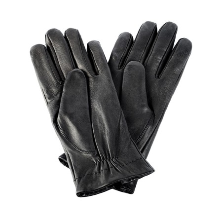 leather glove: A Pair of black mens leather gloves isolated on white.