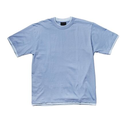 ringer: Blue ringer t-shirt isolated on white with natural shadows. Stock Photo