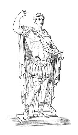"""Augusto aka Octavio aka Cayo Julio César Augusto, el primer emperador romano. Publicado originalmente en el libro sueco """"L?sebok Historisk"""", publicado en 1882. La imagen está en el dominio de publig por la virtud de la edad."""