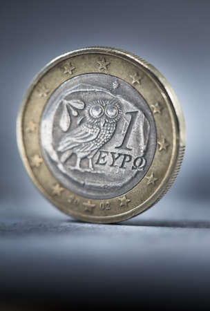 A worn and dirty Greek Euro coin. Short depth of field. Stock Photo - 8341465