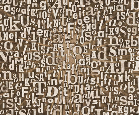 gritty: Grunge and gritty background texture made of old printed letters.