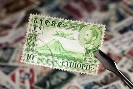 Old stamp ca 1950 from Ethiopia with emperor Haile Selassie I