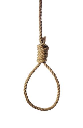 bucle: Cuerda vieja con soga de ahorcado aislado en blanco