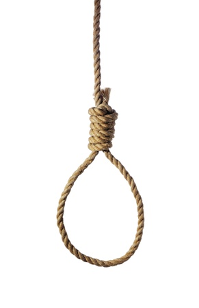 loops: Old rope with hangmans noose isolated on white Stock Photo